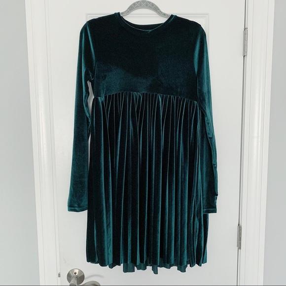 ASOS Tall Emerald Velvet Smock Dress